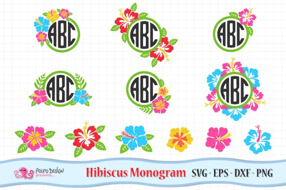 Hibiscus Monogram Svg Hibiscus Clip Art In Svg Eps Dxf And Png Hibiscus Flowers Monogram Tropical Flower Frame Svg Instant Download By Polpo Design Catch My Party