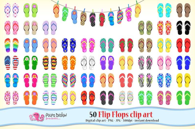 b7a2b819ec0868 50 flip flops clipart. Beach clipart summer clipart Digital