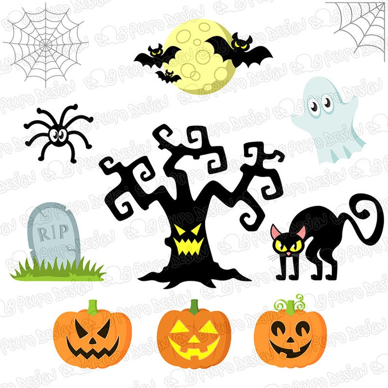 Witch black cat pumpkin candy corn spooky tree ghost grave Holiday set Cute Halloween clipart Commercial /& Personal Use Instant Download