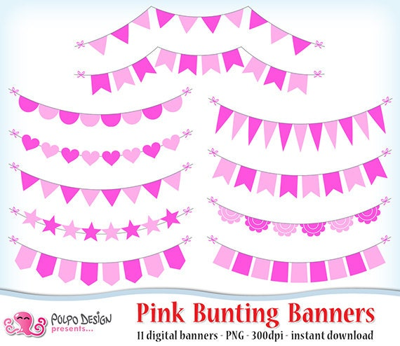 Pink Bunting Banners Clipart Digital Clip Art Commercial Personal Use Instant Download Valentine S Day Banner New Baby Shower Baby Girl By Polpo Design Catch My Party