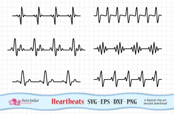 Heartbeats Svg Digital Heartbeat Clip Art In Svg Eps Dxf Png Etsy