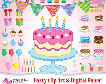 Party clip arts and party digital papers/patterns!