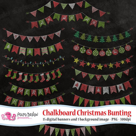 Chalkboard Christmas Bunting Clipart Commercial Personal Use