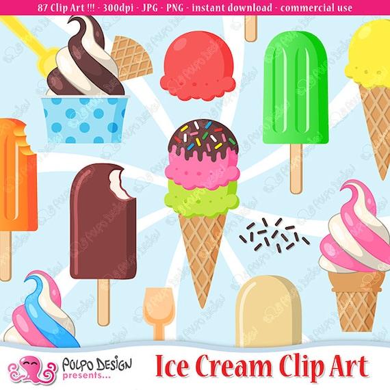 Ice Cream Clipart PNG EPS Vector Set Digital Files Transparent Scrapbook Supplies Clip Art Instant Download