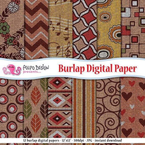 Floral textured digital paper Printable paper Instant download Scrapbook paper Digital scrapbooking Textured paper Burlap background