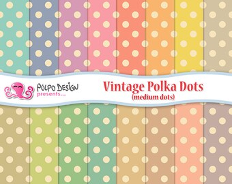 Vintage Polkadots digital papers.  Old paper backgrounds. Commercial & personal Use. Instant Download. Polka dot dots patterns pastel paper.