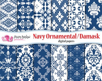 Navy Ornamental and Damask digital papers. Commercial & Personal Use. Instant Download. decoration paper scrapbooking blue white background