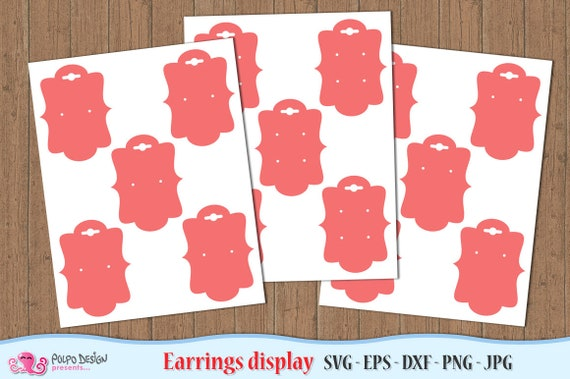 Earring Display Card SVG, Eps, Dxf, Png and Jpg  Vector