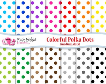 "Polka Dots Digital Paper Pack ( 12""x12"" ) Printable Instant Download for Personal and Commercial Use."