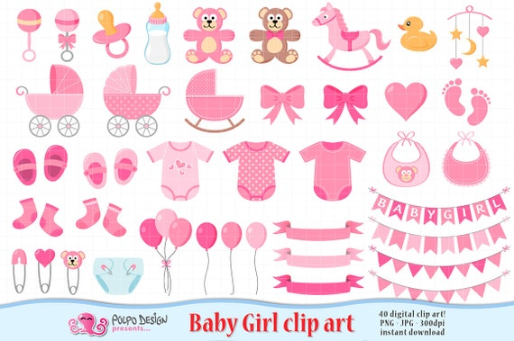 Baby Girl Clipart Its A Girl Clipart Scrapbook Baby Girl Clip Etsy