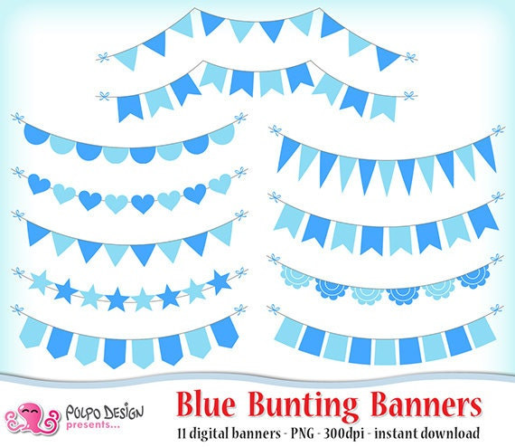 Blue Bunting Banners Clipart Digital Clip Art Commercial Etsy