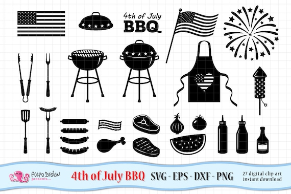 4th of July Barbecue SVG  BBQ clipart in Svg Eps Dxf Png  Vector