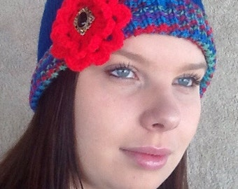 Hand knitted Girls / Ladies Beanie / Hat