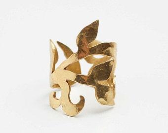 Arabesque ring, plant ring, vegetal ring, brass ring, brass jewelry, arabesque jewelry, plant jewelry, vegetal jewelry,organic ring
