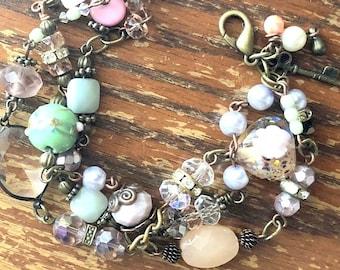 Pinks and Greens Trinket 3 Strand Bauble Bracelet