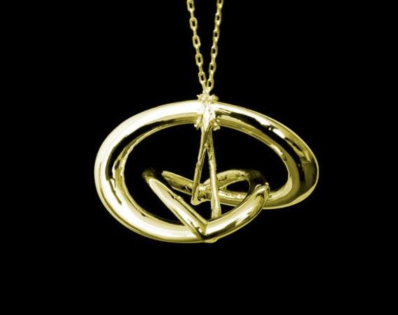 "3d Music Necklace - ""Triune"" - Original 14 Karat Gold Pendant - Fifth Octave Harmony - Techniflow Soundstill Series"