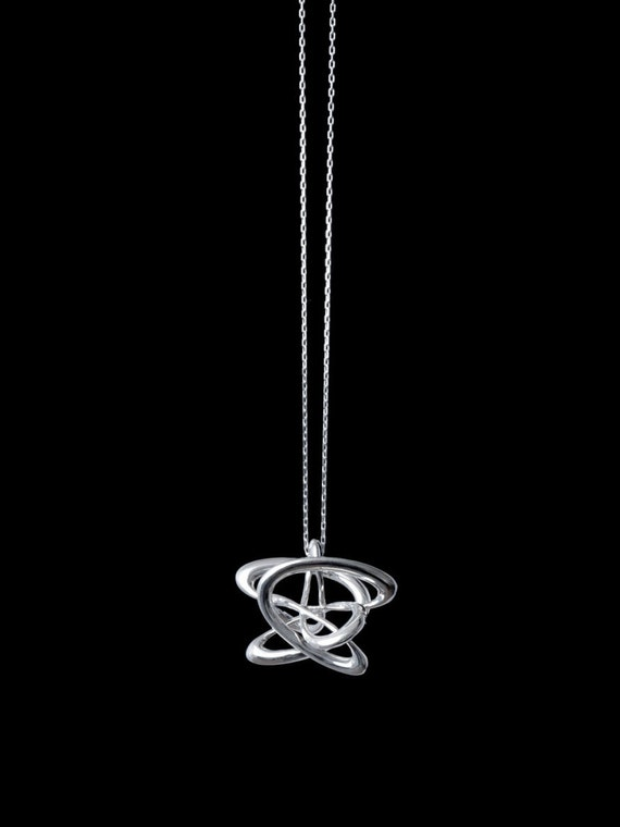 """3d Music Necklace - """"Lotus"""" - Original Sterling Silver Pendant - Second Fifth, Second Octave Harmony - Techniflow Soundstill Series"""