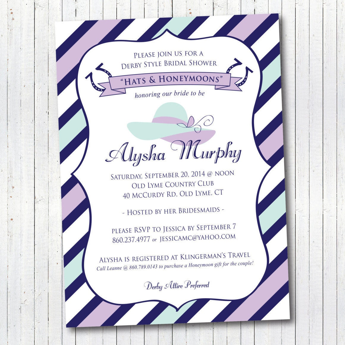 Kentucky Derby Bridal Shower Invitation Lucky in Love | Etsy