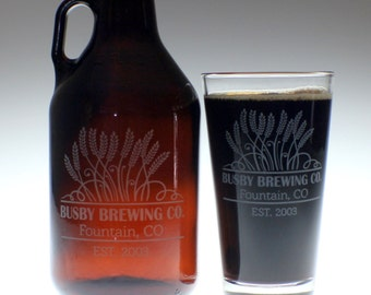 Personalized Beer Growler & 2 glass set with Swaying Wheat art ,wedding gift ,personalized growler,custom Beer Glass,Beer Gift, Beer