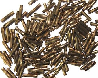 IRIS 10 Gramm ca 230 Stück #GL3 Glasstiftperlen twisted BRONZE