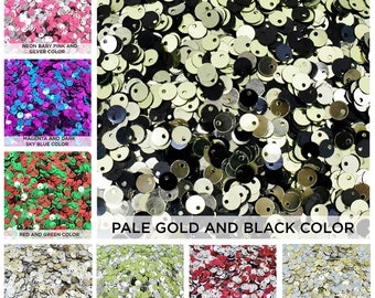 Sequins Sew on craft Centre hole Loose sequins Pailette spangles Cupped Flower Shape Gunmetal Color Sequins-100 Garm 5MM