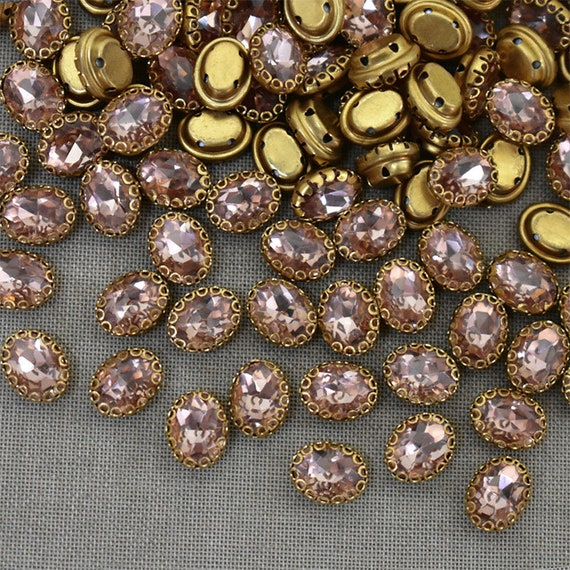 15 Pieces,Light Plum Color Sew on Glass Crystal StoneRhinestones Crystal beadsSew On Rhinestone With Claw-Catcher Made of Brass