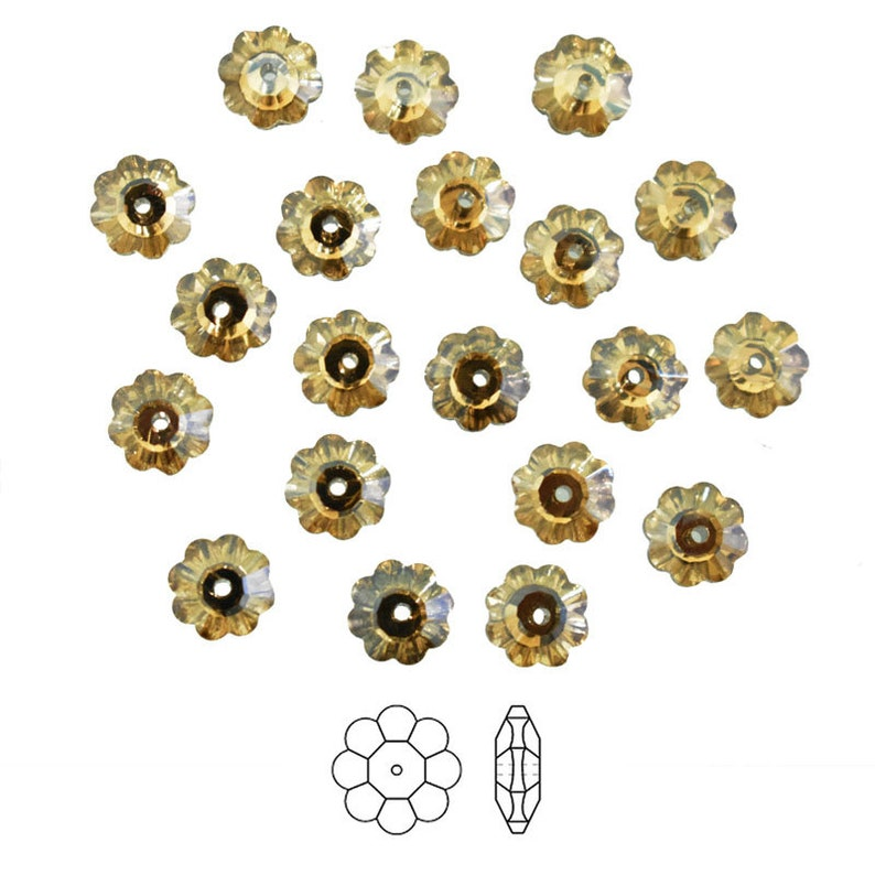 Marguerite Lochrose Flower BeadsFacted Marguerite BeadsSew on Glass Crystal Rhinestone Beads in Light Gold Color-25Piece 8MM