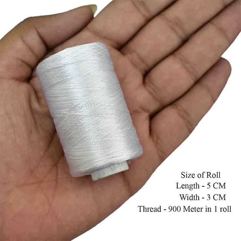 984YardRoll Art Silk Thread in White Color,Art Embroidery silkyarn,Embroidery Thread,indian silk thread,Viscose Rayon Silk thread-2Roll