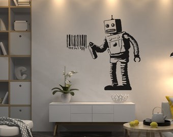 Details about  /3D Bann Robot 038 Wall Stickers Vinyl Murals Wall Print Decal Art AJ STORE