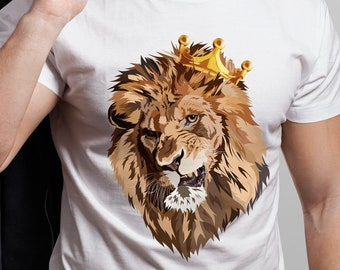 09ed1e44 Lion King T-Shirt Shirt - Funny Nature Animal Head Tee For Men - Trendy  Lions Lover Gift Unisex Personalized Tshirt Print - Novelty Face Art