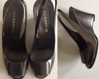 c2f6e09b2d Jil Sander silver wedge slingback sandals size 37.5