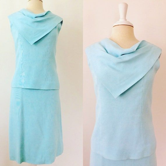 1960s blue linen dress set