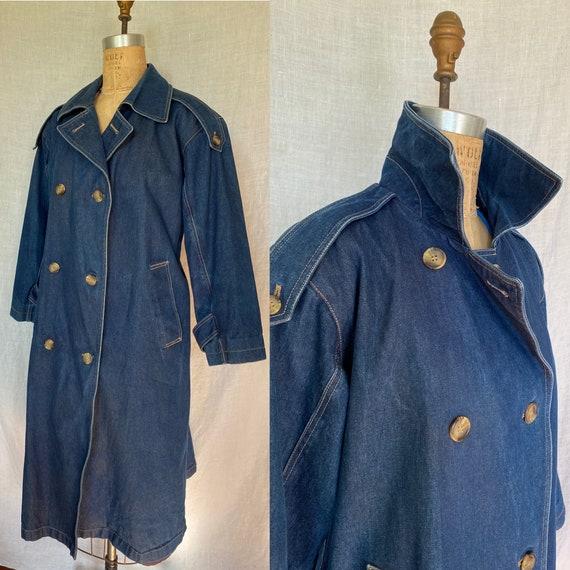Vintage 1980's Denim Trenchcoat Duster Womens's Ev