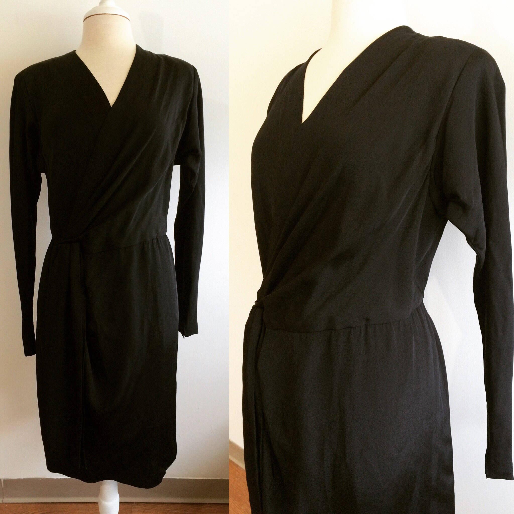 1980er Jahre Vintage Black Wrap Kleid weichen seidigen