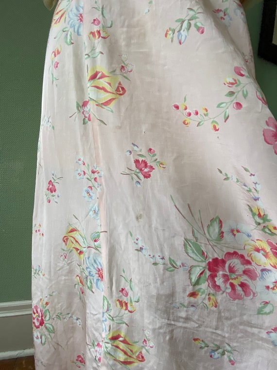1940's cold rayon floral print robe - image 9