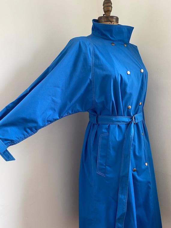 Pauline Trigere vintage 1980s blue trench coat - image 3