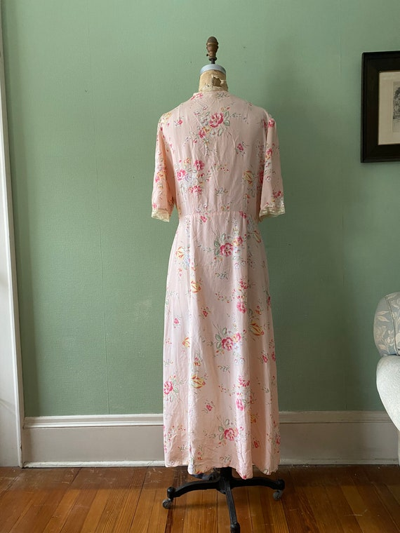 1940's cold rayon floral print robe - image 5