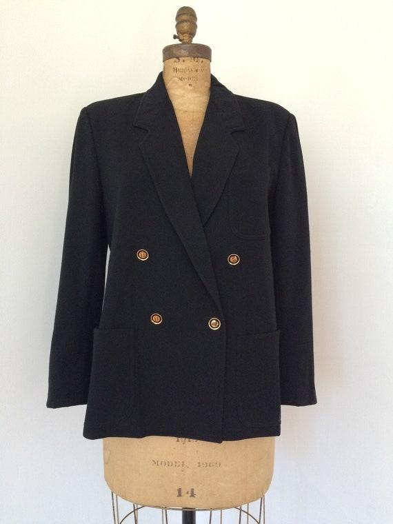 Gucci vintage 1970's black wool women's blazer