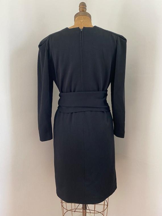 Pauline Trigere Vintage 1980's black wool belted … - image 9