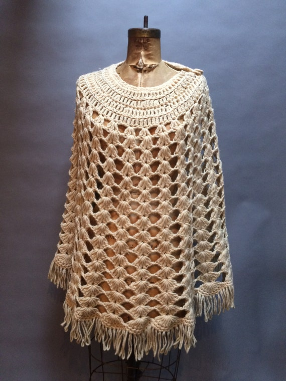 Vintage 1970s College Town Hand Knit Poncho Cape S