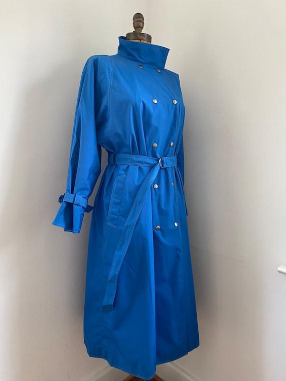 Pauline Trigere vintage 1980s blue trench coat - image 5