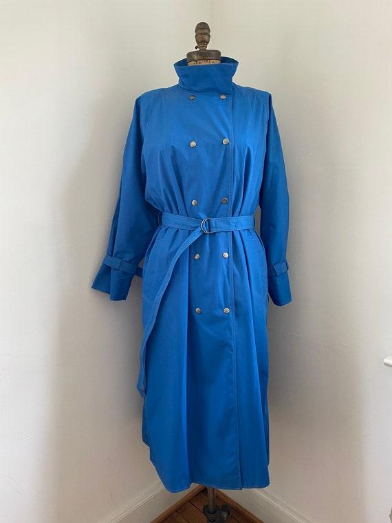 Pauline Trigere vintage 1980s blue trench coat - image 2
