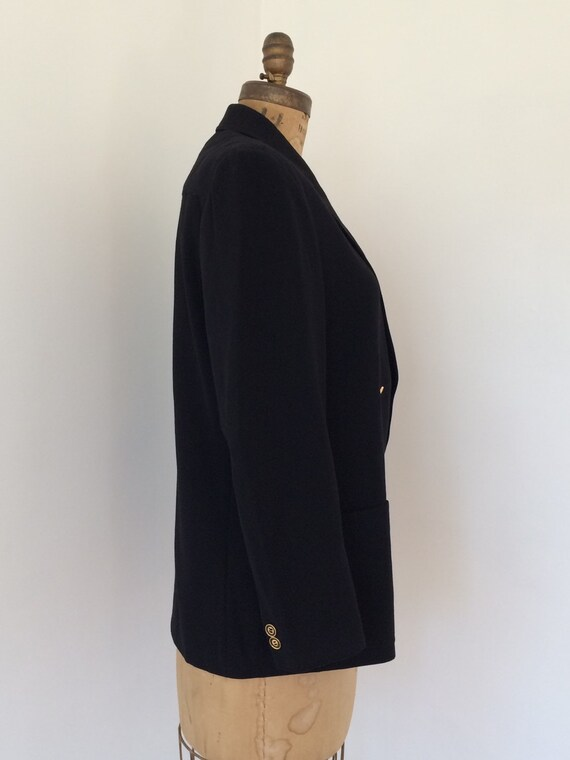 Gucci vintage 1970's black wool women's blazer - image 4
