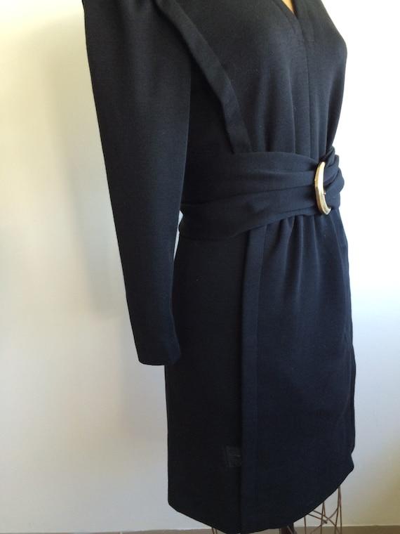 Pauline Trigere Vintage 1980's black wool belted … - image 4