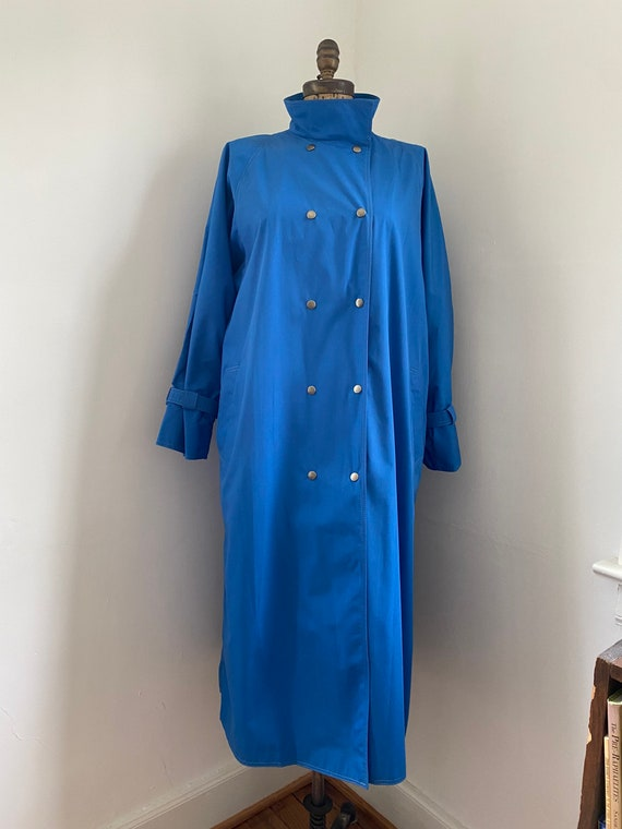 Pauline Trigere vintage 1980s blue trench coat - image 4