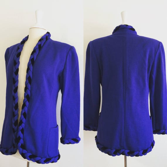 Ungaro Vintage Blue & Black Knit Blazer w/ Braided