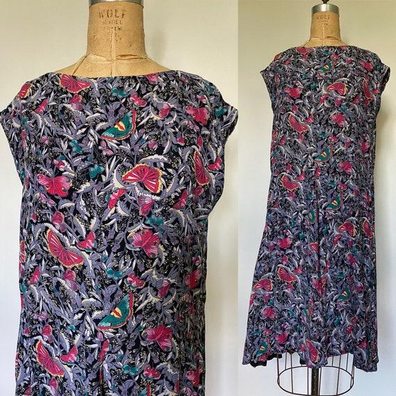 1980's Rayon Butterfly Print dress