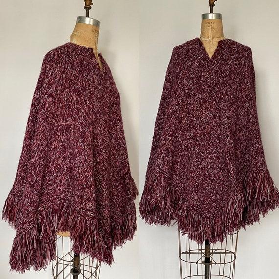 Vintage 1970's knit poncho