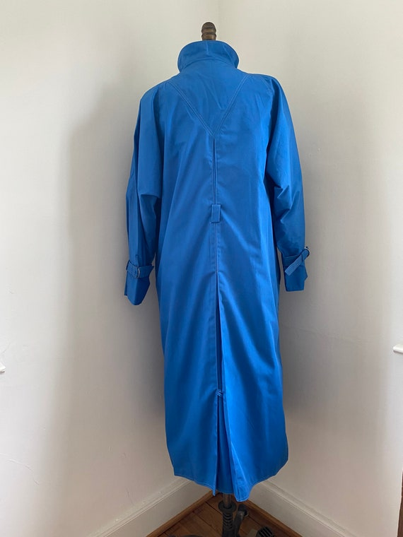 Pauline Trigere vintage 1980s blue trench coat - image 9