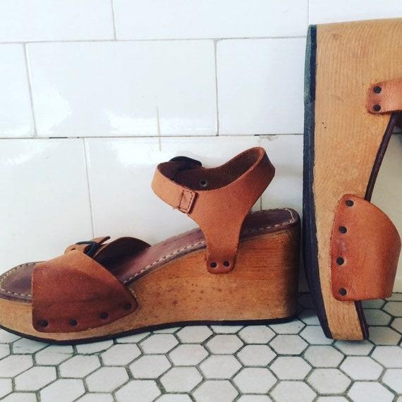 1970's Vintage Platform wooden clog style sandals